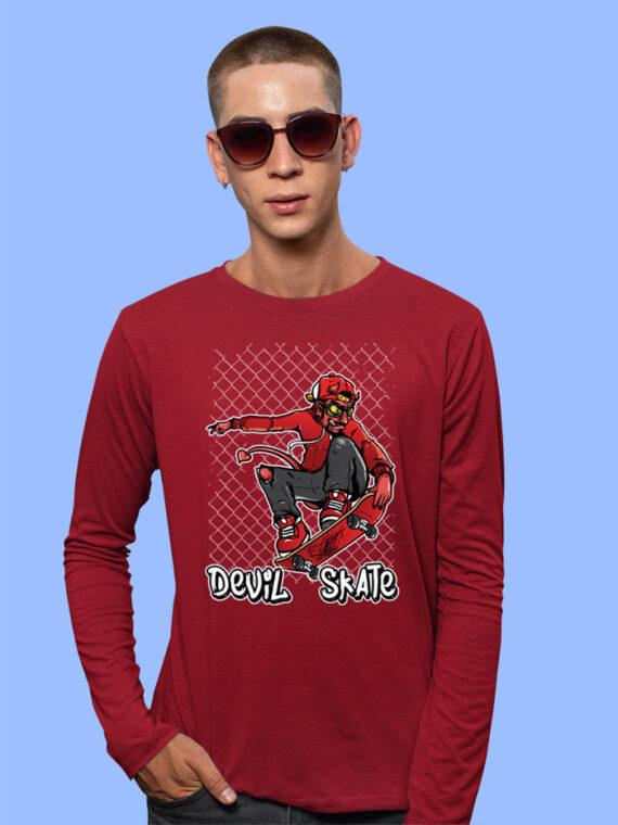 Devil Skate Black Full Sleeves Big Print T-shirt For Men 3