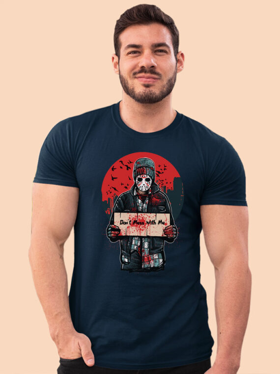 Don't Mess With Me Black Half Sleeves Big Print T-shirt For Men 1