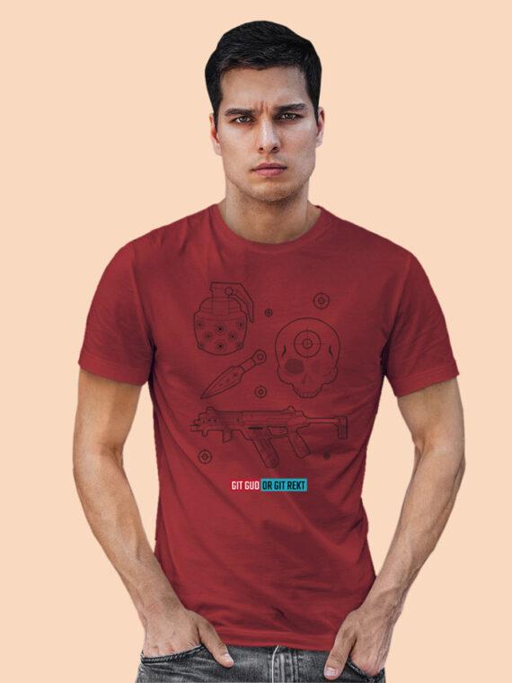 Git Gud Red Half Sleeves Big Print T-shirt For Men 3