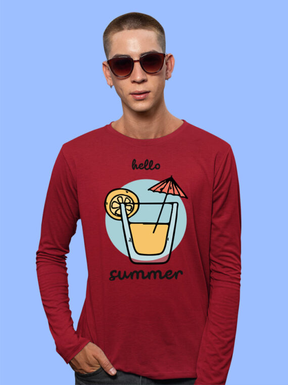 Hello Summer Grey Full Sleeves Big Print T-shirt For Men 1