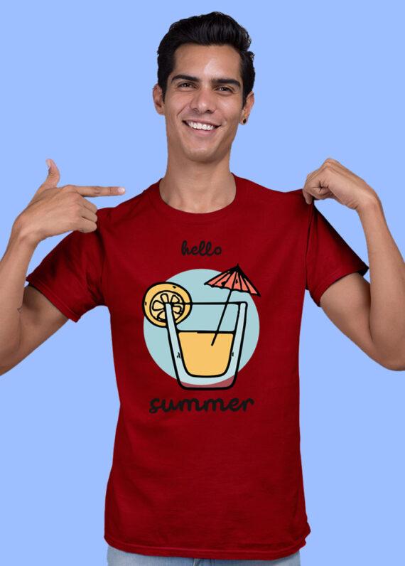 Hello Summer Grey Half Sleeves Big Print T-shirt For Men 1