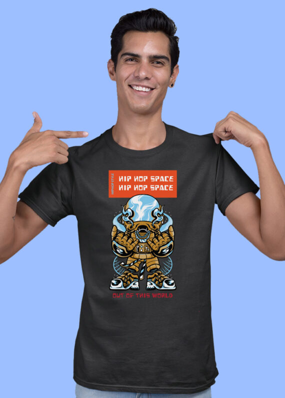 Hip Hop Space Black Half Sleeves Big Print T-shirt For Men 1