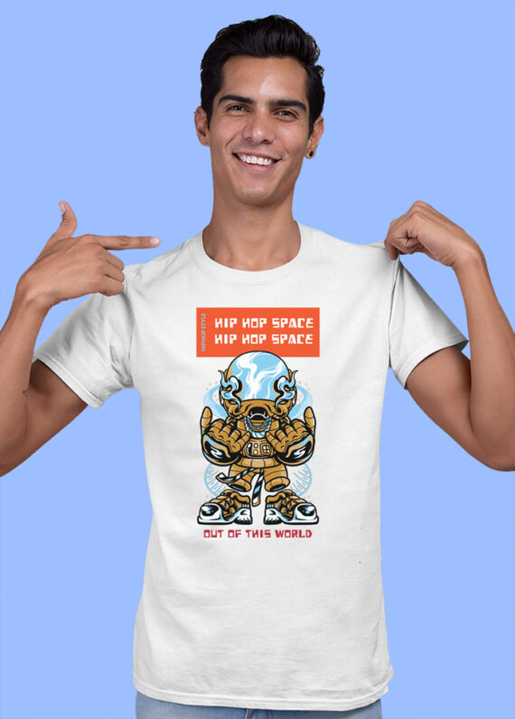 Hip Hop Space Black Half Sleeves Big Print T-shirt For Men 2