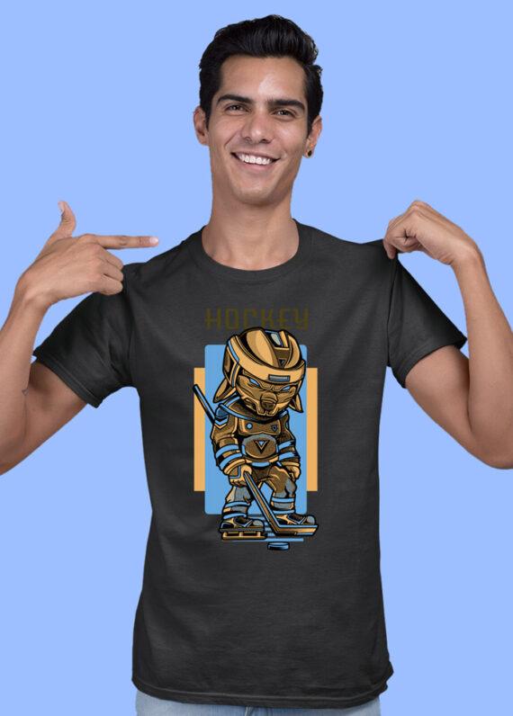 Hokey Black Half Sleeves Big Print T-shirt For Men 1