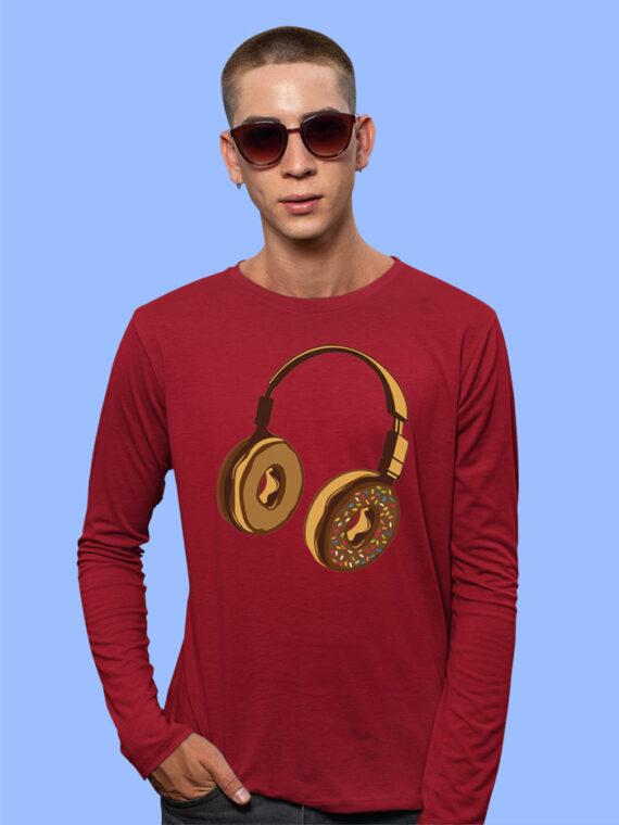 Headphone Donut Black Full Sleeves T-shirt For Men 2
