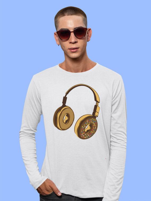 Headphone Donut Black Full Sleeves T-shirt For Men 3