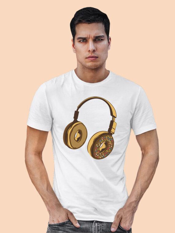 Headphone Donut Black Half Sleeves T-shirt For Men 2