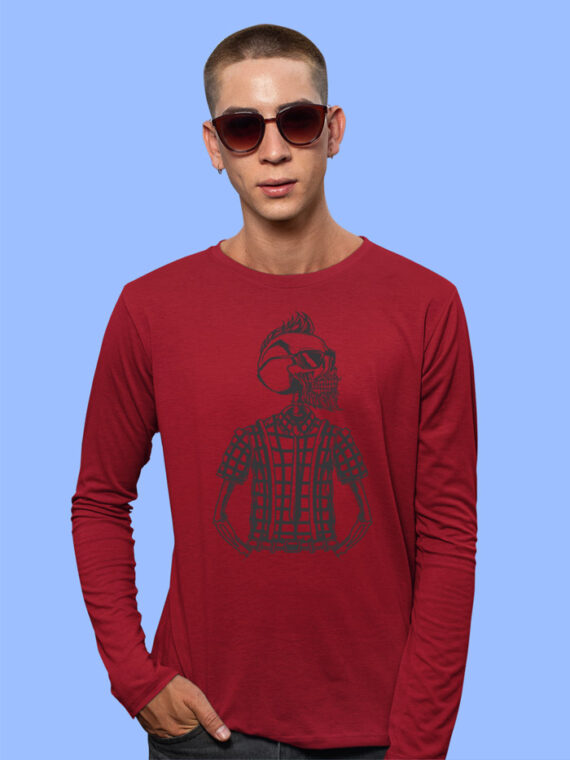 Red Full Sleeve Printed Tshirt