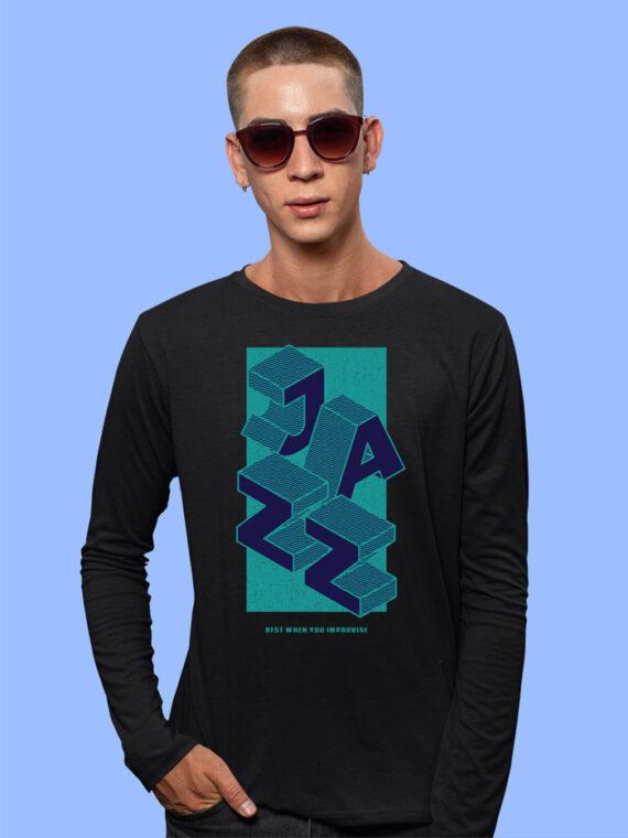 Jazz Black Full Sleeves Big Print T-shirt For Men 3