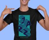 Jazz Black Half Sleeves Big Print T-shirt For Men 2