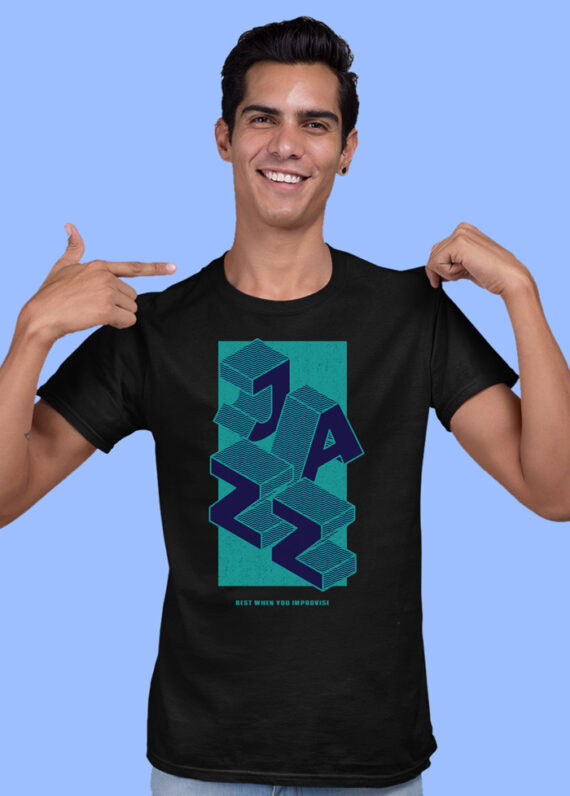 Jazz Black Half Sleeves Big Print T-shirt For Men 3
