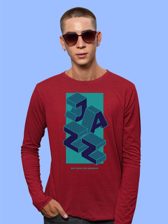 Jazz Black Full Sleeves Big Print T-shirt For Men 4