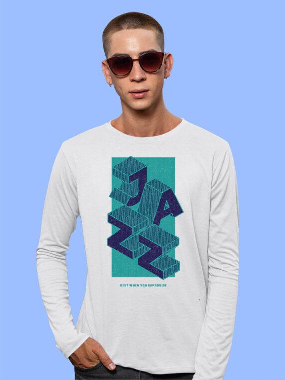 Jazz Black Full Sleeves Big Print T-shirt For Men 5