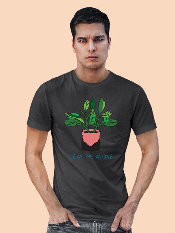 Leaf Me Alone Grey Full Sleeves Big Print T-shirt For Men 3