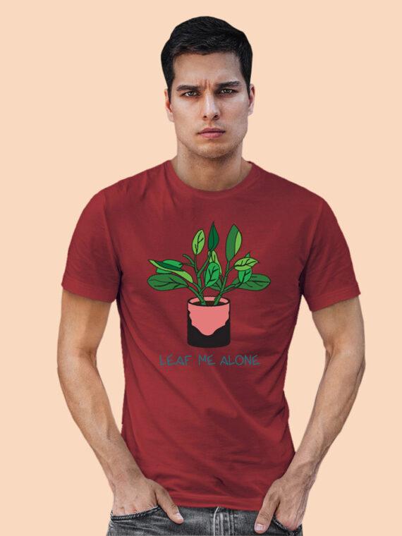 Leaf Me Alone Grey Full Sleeves Big Print T-shirt For Men 4