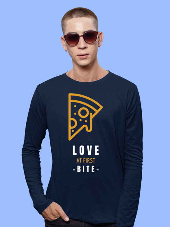 Love At First Bite Black Full Sleeves Big Print T-shirt For Men 1