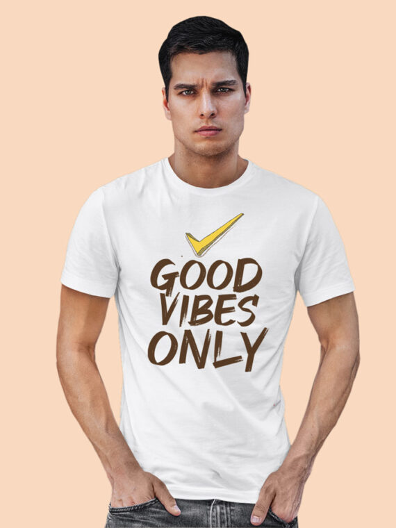 Good Vibes Only White Half Sleeves Big Print T-shirt For Men 3