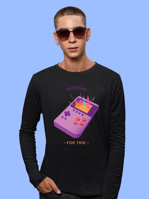 I Paused My Game Black Full Sleeves Big Print T-shirt For Men 3