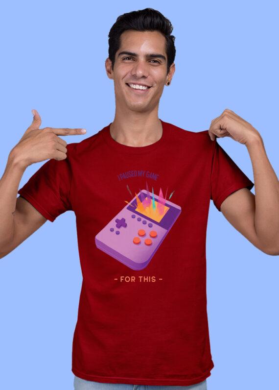 I Paused My Game Black Half Sleeves Big Print T-shirt For Men 4