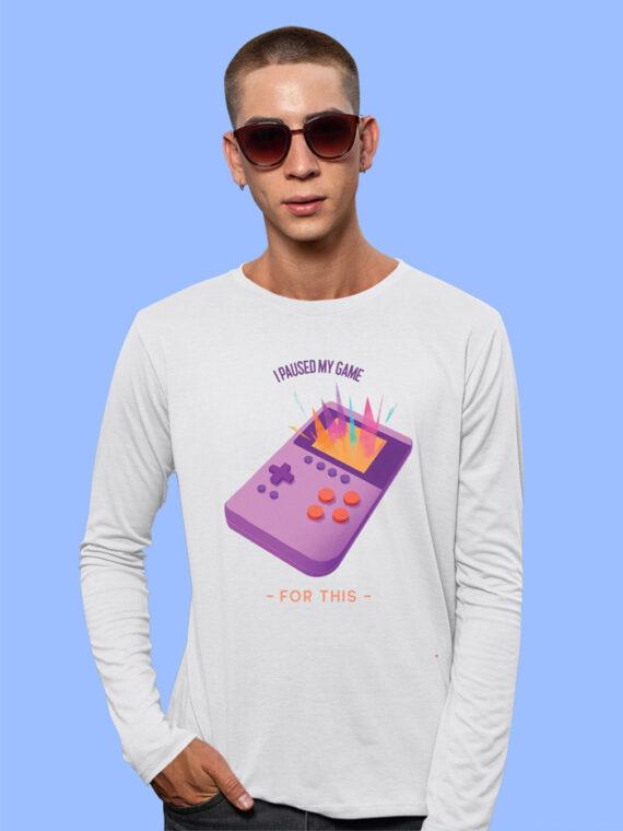 I Paused My Game Black Full Sleeves Big Print T-shirt For Men 5