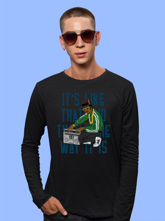 Its Like That Black Full Sleeves Big Print T-shirt For Men 3