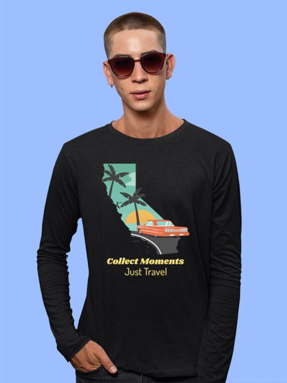 Just Travel Black Full Sleeves Big Print T-shirt For Men 3