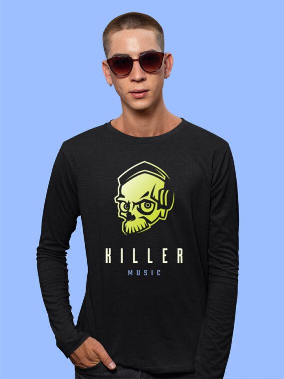 Killer Music Black Full Sleeves Big Print T-shirt For Men 3