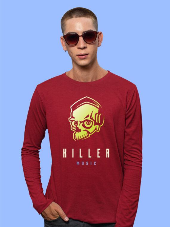 Killer Music Black Full Sleeves Big Print T-shirt For Men 5
