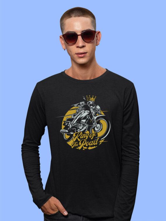 King Of The Road Black Full Sleeves Big Print T-shirt For Men 3