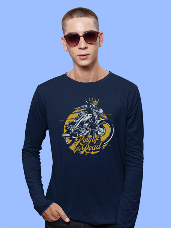 King Of The Road Black Full Sleeves Big Print T-shirt For Men 4