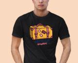 Lets Go Anywhere Black Half Sleeves Big Print T-shirt For Men 1