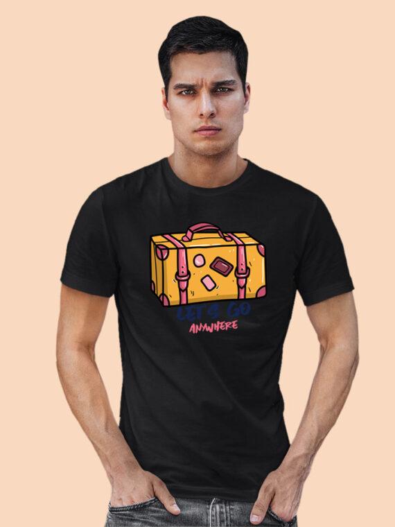 Lets Go Anywhere Black Half Sleeves Big Print T-shirt For Men 3