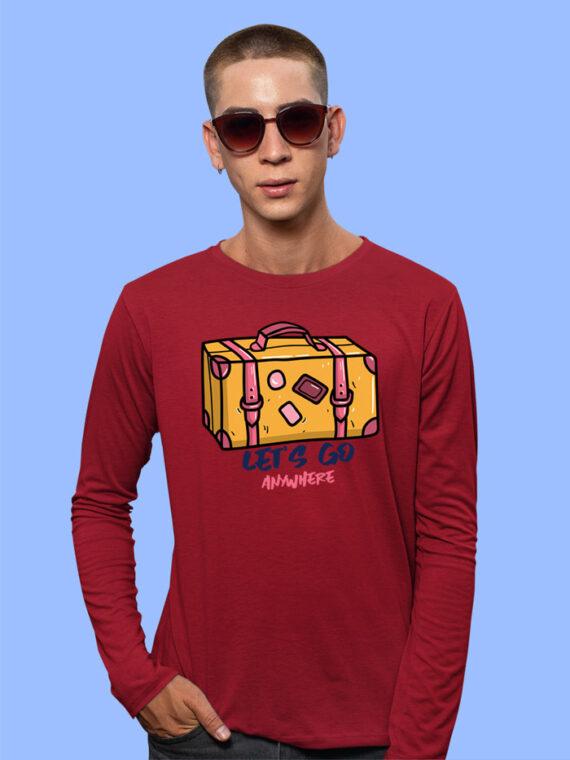 Lets Go Anywhere Black Full Sleeves Big Print T-shirt For Men 5