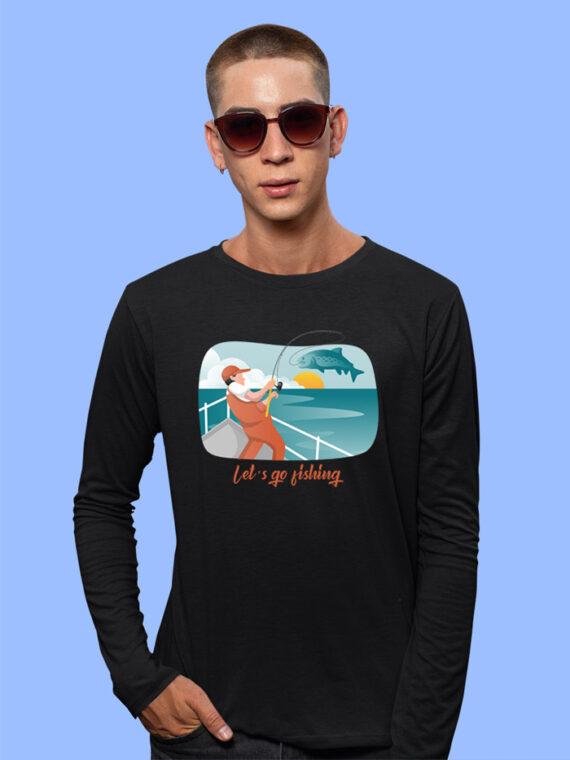 Lets Go Fishing Black Full Sleeves Big Print T-shirt For Men 3