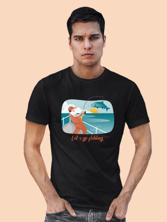 Lets Go Fishing Black Half Sleeves Big Print T-shirt For Men 2