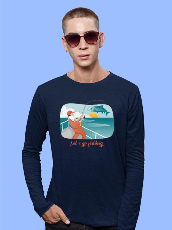 Lets Go Fishing Black Full Sleeves Big Print T-shirt For Men 4