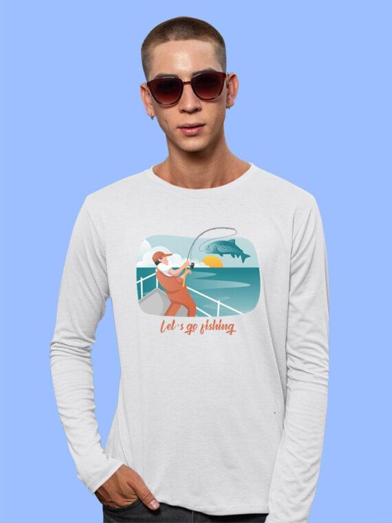 Lets Go Fishing Black Full Sleeves Big Print T-shirt For Men 5