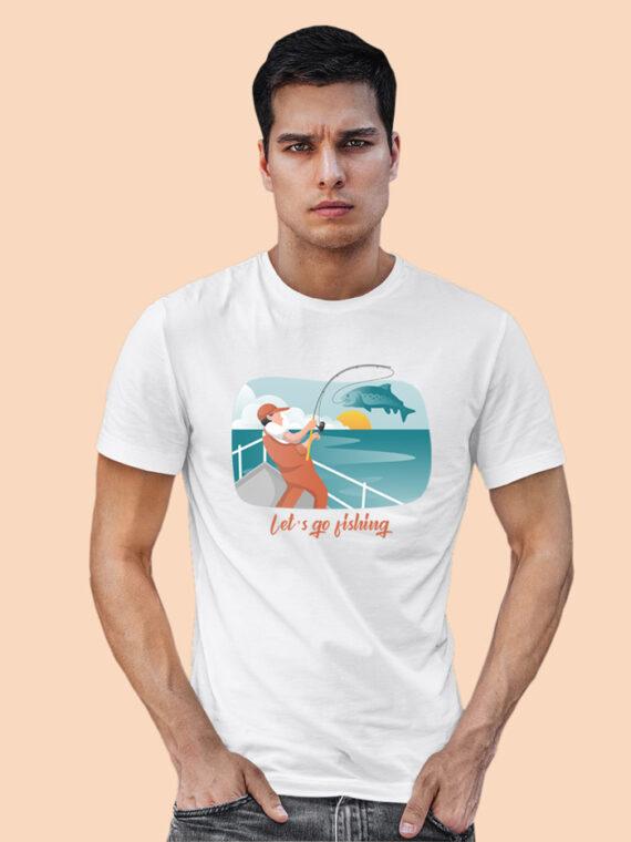 Lets Go Fishing Black Half Sleeves Big Print T-shirt For Men 4