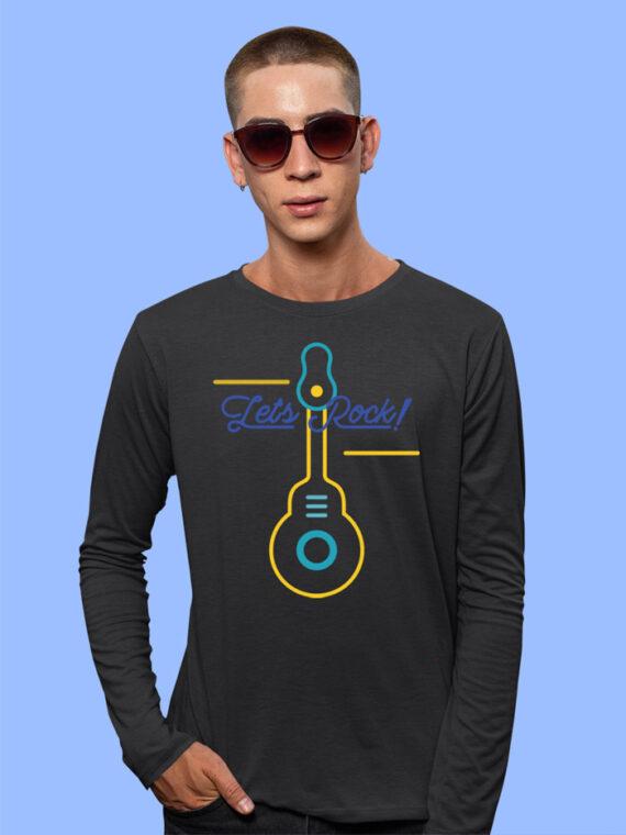 Lets Rock Black Full Sleeves Big Print T-shirt For Men 2