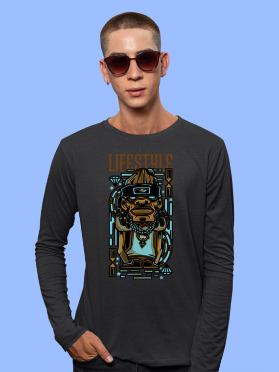 Lifestyle Black Full Sleeves Big Print T-shirt For Men 1
