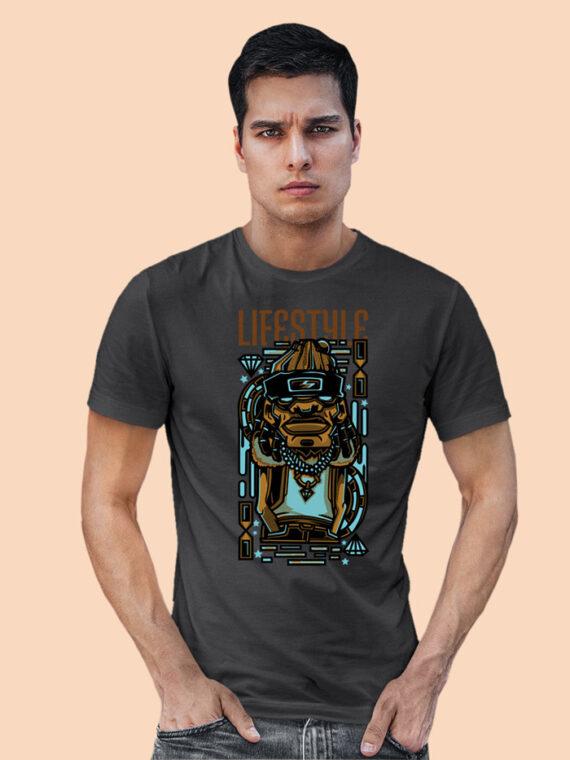 Lifestyle Black Half Sleeves Big Print T-shirt For Men 2