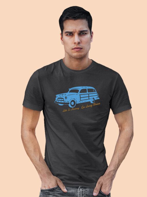 Long Drive Black Half Sleeves Big Print T-shirt For Men 2