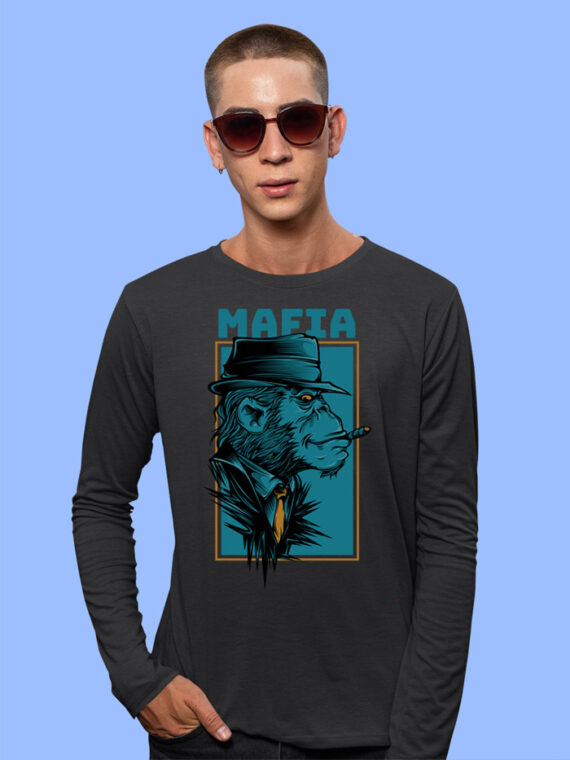 Mafia Black Full Sleeves Big Print T-shirt For Men 1