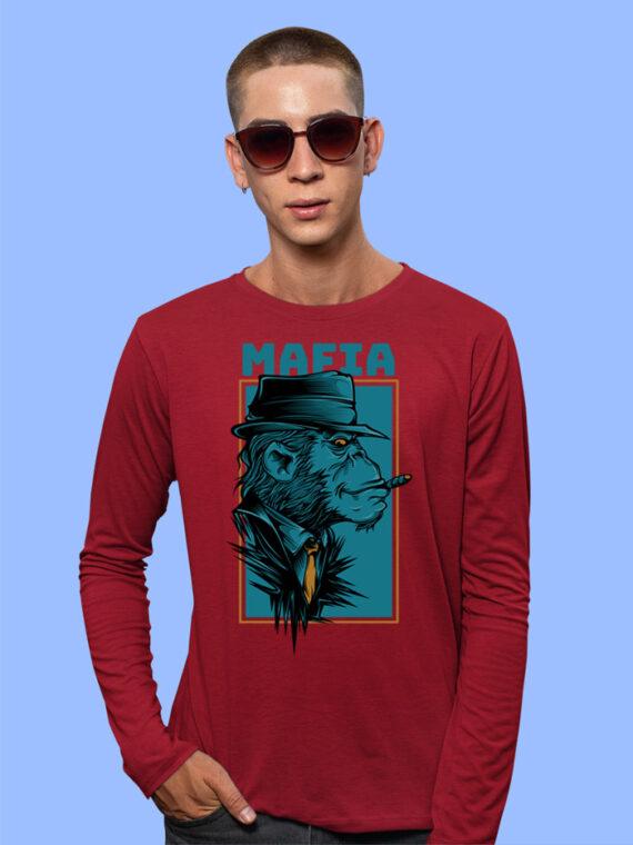 Mafia Black Full Sleeves Big Print T-shirt For Men 2
