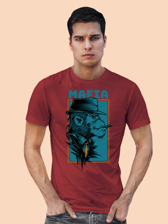 Mafia Black Half Sleeves Big Print T-shirt For Men 2