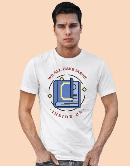 Printed white half sleeves tshirts for men