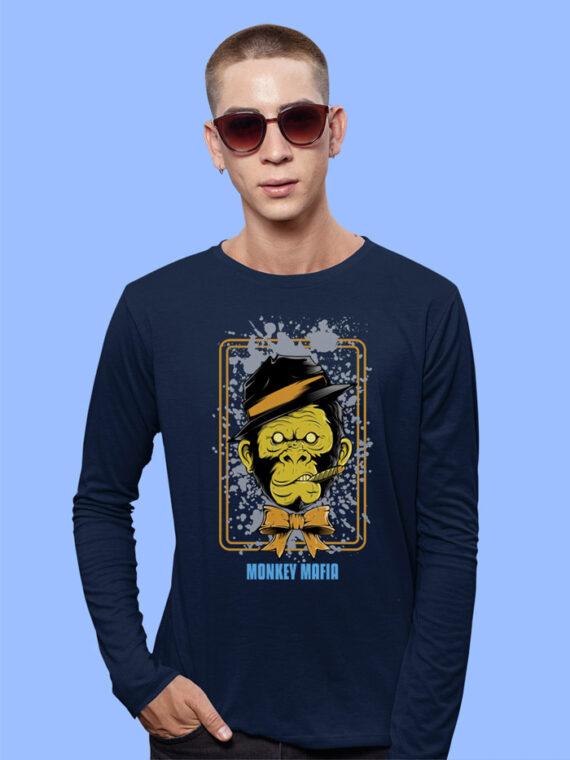 Monkey Mafiya Black Full Sleeves Big Print T-Shirt For Men 2