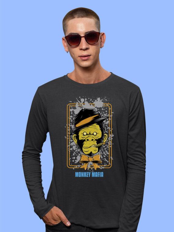 Monkey Mafiya Black Full Sleeves Big Print T-Shirt For Men 3