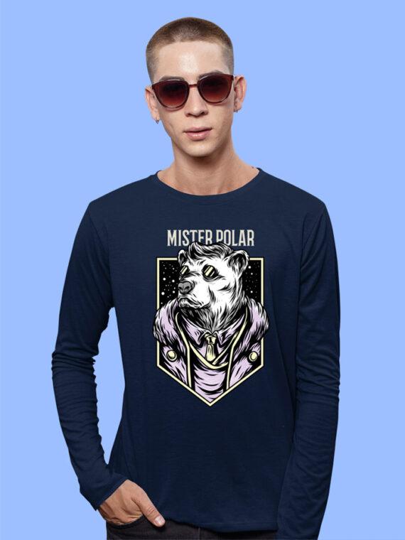 Mister Polor Black Full Sleeves Big Print T-shirt For Men 1