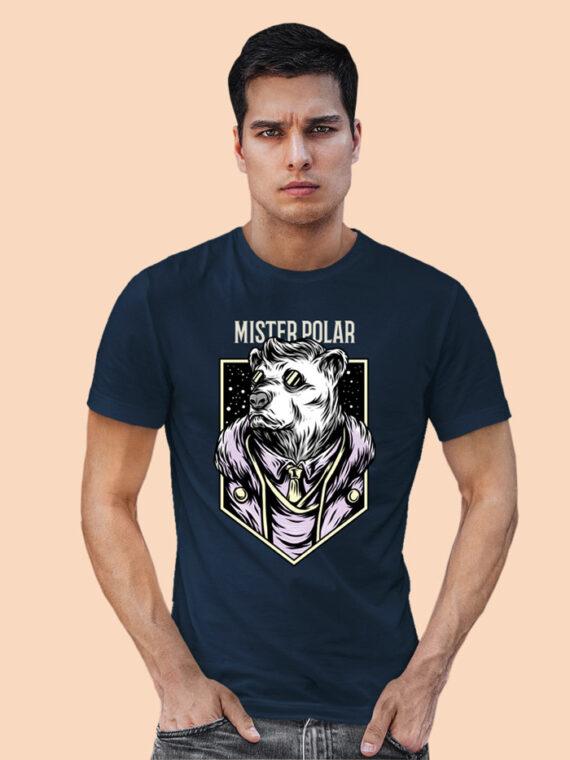 Mister Polor Black Half Sleeves Big Print T-shirt For Men 2